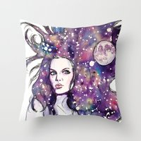 the moon Throw Pillows featuring moon by Beth Jorgensen