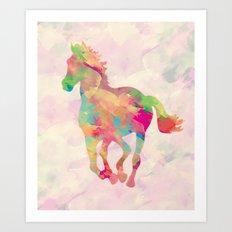 Abstract horse Art Print