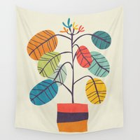 plant Wall Tapestries featuring Potted plant 2 by Picomodi