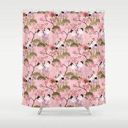 Japanese Garden in Pink Shower Curtain