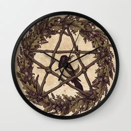 Botanical Pentacle: Wild Witch Wall Clock