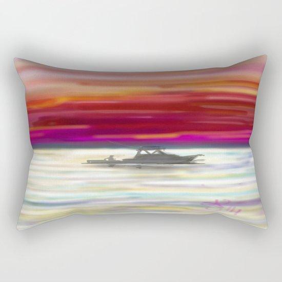 Fishing in Neon Rectangular Pillow