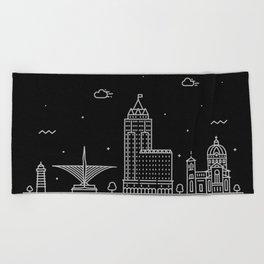 Milwaukee Minimal Nightscape / Skyline Drawing Beach Towel