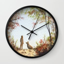 A Walk in the Autumn Woods Wall Clock
