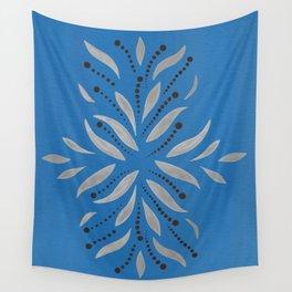 Silver Leafs – Blue Bell – Scandinavian Folk Art Wall Tapestry