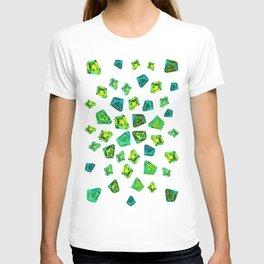Green beautiful hand drawn gems. T-shirt
