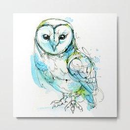 Aqua Tyto Owl Metal Print
