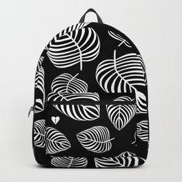 White Leaves on Black Backpack