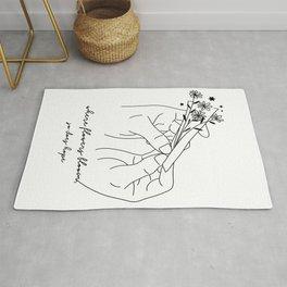 Where flowers bloom, so does hope - Minimalist Line Art Hand Holding Flowers Rug