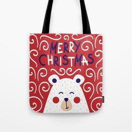 Merry Christmas Polar Bear Tote Bag