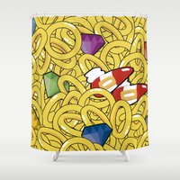 sonic Shower Curtains featuring Sonic Pattern by Pajarona