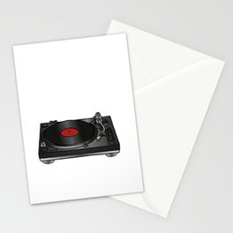 Vinyl record player Stationery Cards