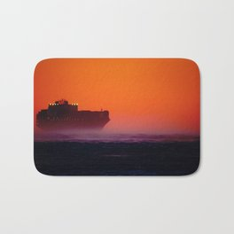 Container ship in the wind Bath Mat