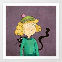 Cat Girl Art Print