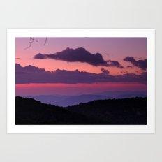 Purple sunset at the mountains... Art Print