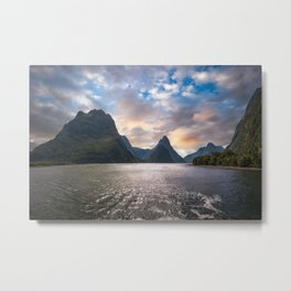 Epic Sunset at Milford Sound Metal Print
