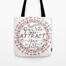 'Your Vibe Will Attract Your Tribe' Quote Mandala Red Tote Bag