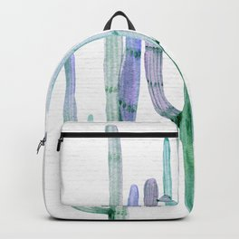 Cactus Trio Sage Watercolor by Nature Magick Backpack
