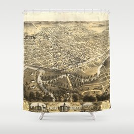 Vintage Pictorial Map of Fort Wayne Indiana (1868) Shower Curtain