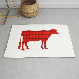 Cow: Red Plaid Rug