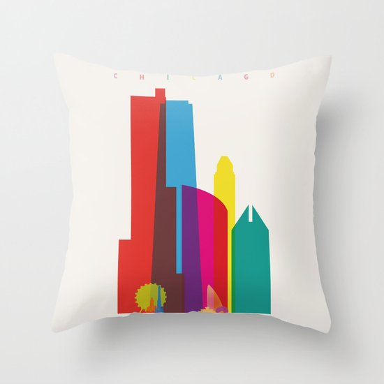 Shapes of Chicago. Accurate to scale Throw Pillow