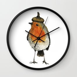 Robin with acorn hat Wall Clock