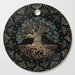Tree of life -Yggdrasil Golden and Marble ornament Cutting Board