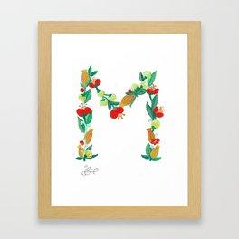 Initial Print, Floral Monogram Letter M Framed Art Print