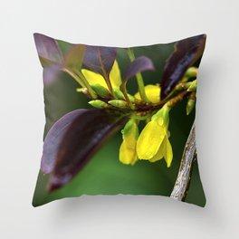 Yellow Flowers in Rain Throw Pillow