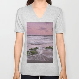 Purple sunset at the beach. Marbella. Unisex V-Neck