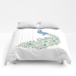 Jeweled Peacock on White Comforters