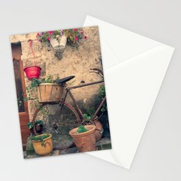 Vintage Bicycle Used As A Flower Pot, Provence Stationery Cards