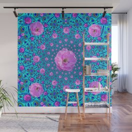 100 PINK ROSES & TURQUOISE ART Wall Mural