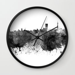 Johannesburg skyline in black watercolor on white background Wall Clock