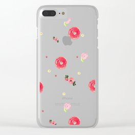 Watercolor Pink Flower Pattern Home Decor Roses Wall Decor Clear iPhone Case