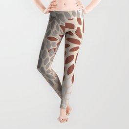 Festive, Flower Pattern, Terracotta, Gray and Blush, Floral Prints Leggings