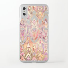 Glowing Coral and Amethyst Art Deco Pattern Clear iPhone Case