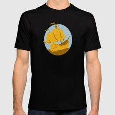 sailing ship galleon retro Mens Fitted Tee MEDIUM Black