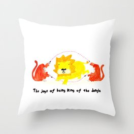 The joys of being the King of the Jungle Throw Pillow
