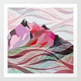 Ocean Sea Mountains Art Print