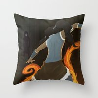 the legend of korra Throw Pillows featuring Korra by charcola
