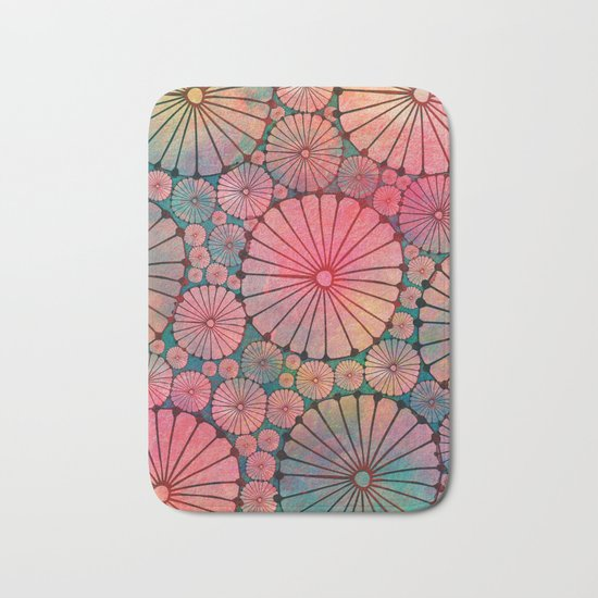 Abstract Floral Circles Bath Mat