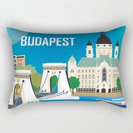Budapest, Hungary - Skyline Illustration by Loose Petals Rectangular Pillow