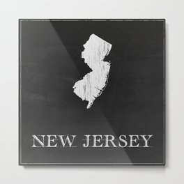 New Jersey State Map Chalk Drawing Metal Print