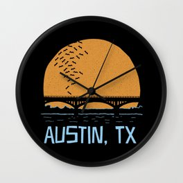 Austin Texas Bat Bridge Wall Clock