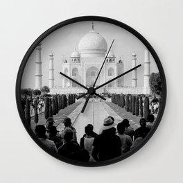 Taj Mahal with people Wall Clock