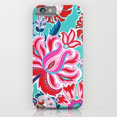 Bohemian Floral Paisley in Turquoise, Red and Pink iPhone 6 Slim Case