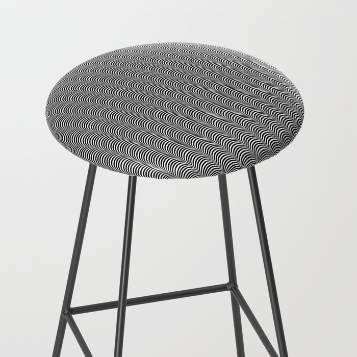Black and White Scallop Line Pattern Digital Graphic Design Bar Stool
