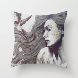 Monument: Red & Blue (sleeping beauty, woman with skyline tattoo and bird) Throw Pillow