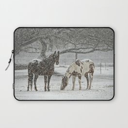 2 Horses under a tree in winter Laptop Sleeve